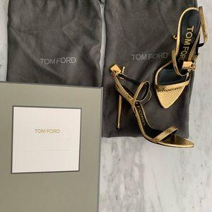 BNIB Tom Ford Gold Snake-print Sandals 7.5